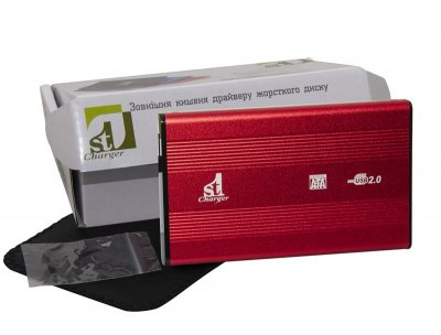 "Зовнішній кишеню 1StCharger SATA HDD/SSD 2.5"", USB 2.0, Red (HDE1STU2520BR)"