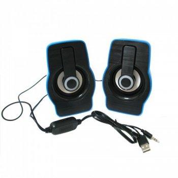Компьютерные проводные USB колонки для ПК F&T FT185 Синие (gr_008226)