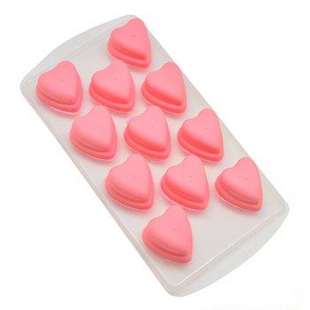 """Форма для льоду шоколаду мастики STENSON """"Сердечка"""" 21.5 х 11 см (R28916) Рожевий"""