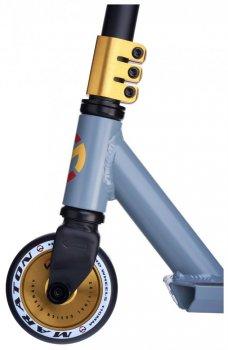 Трюковий самокат Maraton Versa з рульовою системою HIC + 2 пеги, Золоті колеса