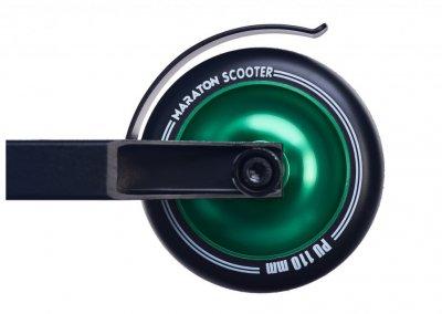 Трюковий самокат Maraton Scorpion з рульовою системою HIC + 2 пеги, Колеса зелений металік