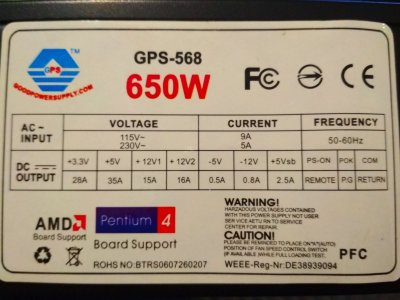 Блок питания GoodPowerSupply GPS-568 на 650W ATX Б/У