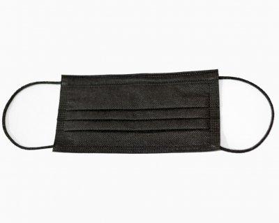 Защитная маска Trident на резинках трехслойная черного цвета 50 шт в уп