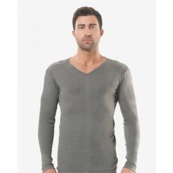Чоловіча футболка з довгим рукавом (лонгслів) Oztas 1007-A темно-сіра 50% бавовна 50% поліестер