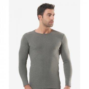 Чоловіча футболка з довгим рукавом (лонгслів) Oztas 1018-A темно-сірий 50% бавовна 50% поліестер