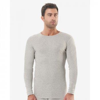 Чоловіча футболка з довгим рукавом (лонгслів) Oztas 1018-A світло-сірий 50% бавовна 50% поліестер