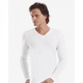 Чоловіча футболка з довгим рукавом (лонгслів) Oztas 1006-A біла 100% бавовна