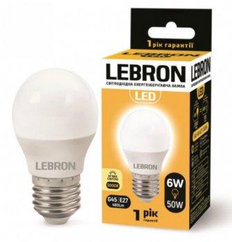 Лампа світлодіодна Lebron L-G45 6Вт Е27 3000К упак 10 шт.