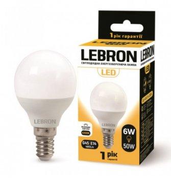 Лампа світлодіодна Lebron L-G45 6Вт Е14 4100К упак 10 шт.