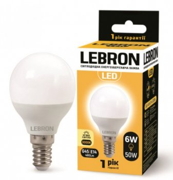 Лампа світлодіодна Lebron L-G45 6Вт Е14 3000К упак 10 шт.