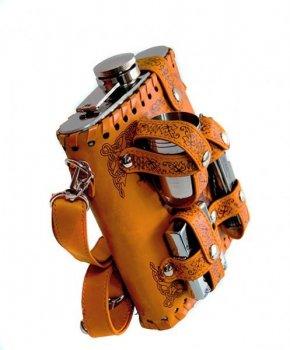 """Фляга """" Фазан"""" в чехле 540мл - набор 3 рюмки, зажигалка и многофункциональный нож . (4-6097)"""