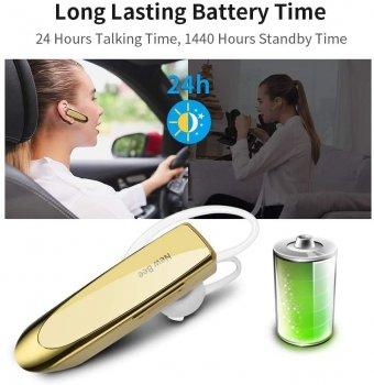 Гарнитура Bluetooth New Bee LC-B41 Gold + чехол гарантия 1 год