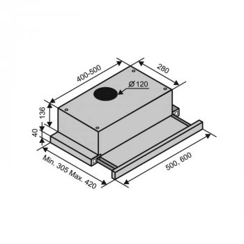 Витяжка кухонна Ventolux GARDA 60 BK (450)