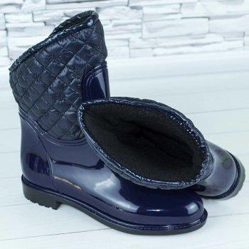 Сапоги резиновые женские силиконовые W-shoes 115b синие на флисе b-477