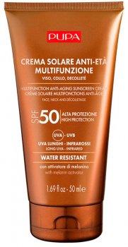 Антивозрастной солнцезащитный крем для лица, шеи и декольте Pupa Sun Care Multifunction Anti-Aging Sunscreen Cream SPF 50 50 мл (8011607331703)