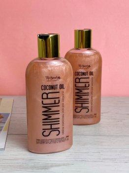 Кокосове масло Top Beauty для засмаги з шимером Shimmer Coconut Oil Rose 200мл