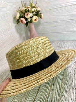 Соломенная шляпа женская солнцезащитная канотье Family look бежевая 55-57