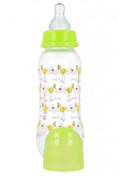 Пляшка пластикова з малюнком та силiконовою соскою 250 мл AKUKU А0005. (салатова з пташкою).