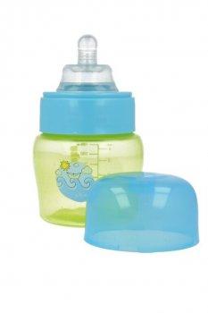 Пляшка пластикова з малюнком та силiконовою соскою, широкий отвір, 125 мл AKUKU А0211. (салатова).