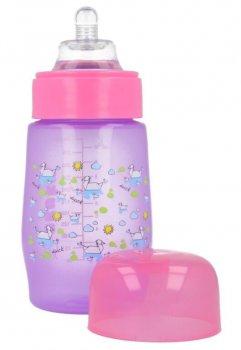 Пляшка пластикова з малюнком та силiконовою соскою, широкий отвір, 250 мл AKUKU А0212. (рожева).