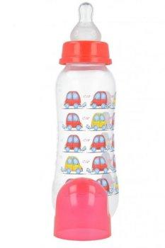 Пляшка пластикова з малюнком та силiконовою соскою 250 мл AKUKU А0005. (червона з автівками).