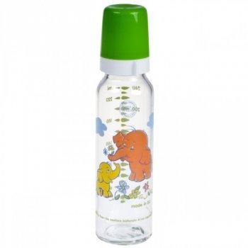 Пляшка з малюнком скляна із силiконовою соскою 240 мл Canpol Babies 42/201 (зелена)