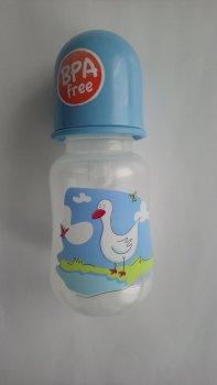 Пляшка пластикова з малюнком та силiконовою соскою 125 мл AKUKU А0178. (голуба з качечкою).