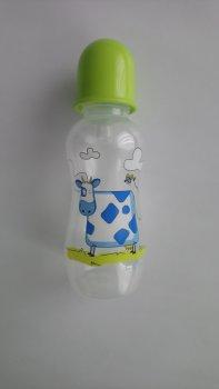 Пляшка пластикова з малюнком та силiконовою соскою 300 мл AKUKU А0179. (зелена з корівкою).