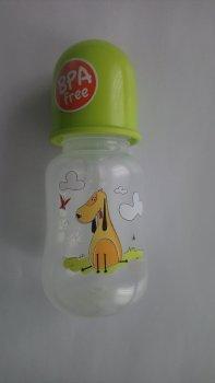 Пляшка пластикова з малюнком та силiконовою соскою 125 мл AKUKU А0178. (зелена з песиком).