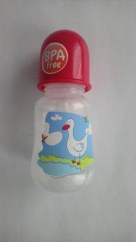 Пляшка пластикова з малюнком та силiконовою соскою 125 мл AKUKU А0178. (червона з качечкою).