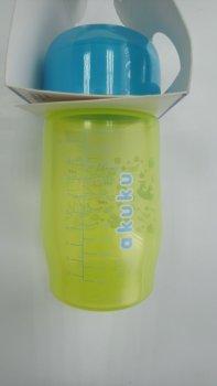 Пляшка пластикова з малюнком та силiконовою соскою, широкий отвір, 250 мл AKUKU А0212. (салатова).