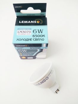 Лампа светодиодная MR16 6W G5.3 6500K 600Lm 175-265В LM3070 Lemanso