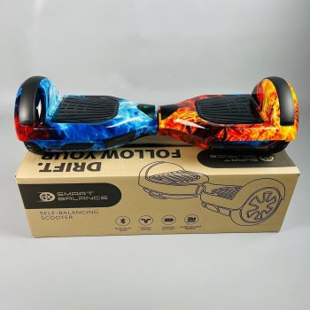 Гироборд Smart Balance 6.5 дюймов Огонь и лед АКБ Samsung 4400mAh / 700Вт Bluetooth-колонка и LED - подсветка колес
