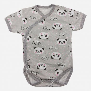 Боди-футболка Малыш style БД-02 Серый/Панда