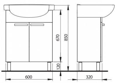 FREJA шкафчик под мебельный умывальник 65 см, белый глянец (укр)