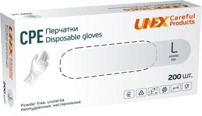 Перчатки одноразовые нестерильные, неопудреннные CPE Unex Medical Products размер L 200 шт. — 100 пар Белые (77-39-2)