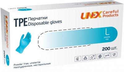 Перчатки TPE Unex Medical Products неопудренные нестерильные размер L 200 шт. — 100 пар Голубые (77-47-1)