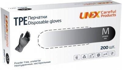 Перчатки одноразовые нестерильные, неопудренные TPE Unex Medical Products размер M 200 шт. — 100 пар Чорные (77-50-1)