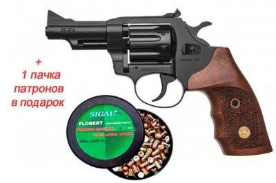 Револьвер під Флобера Alfa mod. 431 ворон/дерево + 1 пачка патронів в подарунок