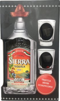 Текила Sierra Silver 0.7 л 38% с двумя рюмками в подарочной упаковке (62400115896)