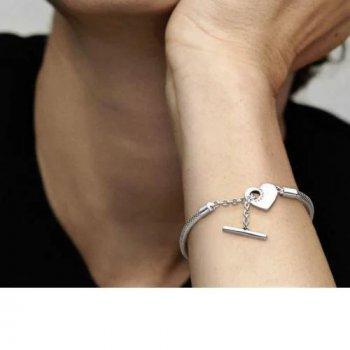Серебряный Браслет Пандора Т-застежка в форме сердца 18 #599285C00