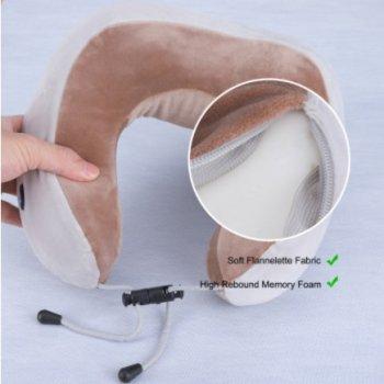 Массажная подушка U-Shaped Massage Pillow SHAKE с вибрацией и функцией памяти бежевая