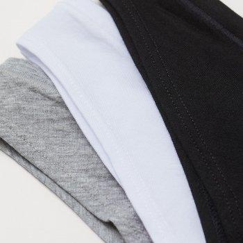 Трусики-танга H&M 9536852sm 3 шт Белый/серый/черный