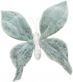 Елочная игрушка Yes! Fun Бабочка пушистая с декором 20х20 см Ментоловая (973545) (5056137185450)