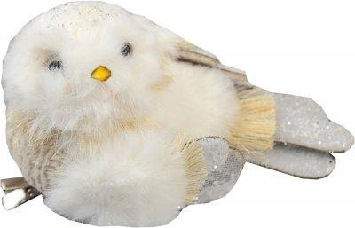 Ялинкова іграшка Yes! Fun Пташка пухнаста 13х7 см Кремово-біла (973551) (5056137185511)