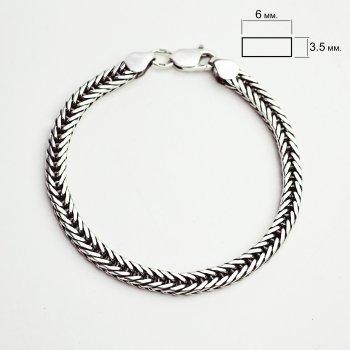 Серебряный мужской браслет ILSAV 009ч (20см браслет с чернением)