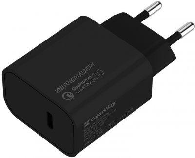 Сетевое зарядное устройство СolorWay Power Delivery Port USB Type-C (20W) V2 + Кабель Type-C-Apple Lightning (PD 30W) 3.0А 1 м (CW-CHS026PD-BK/CBPDCL033-GR)