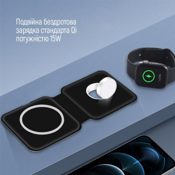 Беспроводное зарядное устройство ColorWay MagSafe Duo Charger 15W for iPhone Black (CW-CHW32Q-BK)