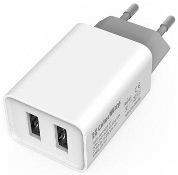 Комплект сетевых зарядных устройств СolorWay 2 USB AUTO ID 2.1A (10W) White + Black (CW-CHS015-WT/CHS015-BK)