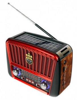 Радио портативная колонка MP3 USB Golon с солнечной панелью Golon RX-456S Solar Brown-Red